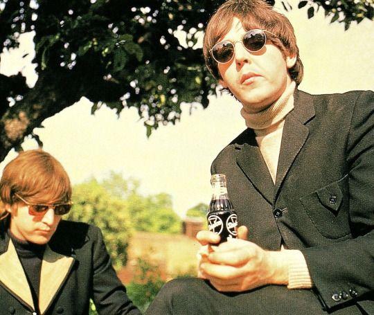 John Lennon and Paul McCartney at Chiswick House, May 20th, 1966.