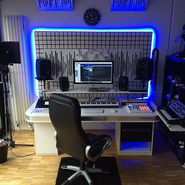 No matter how large or small your professional recording music studio - even if you do sound production in your home studio - anything is more cool with a bit of neon blue glow in the evening. And, of course, a comfortable padded chair for all those hours when you'll be working the mixer board to get the best mix. - cSw :) - http://www.pinterest.com/claxtonw/professional-recording-music-production/