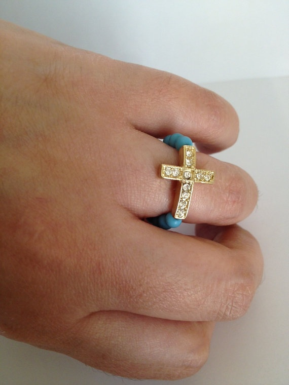 Turquoise and Gold Crystal Cross Ring: Crystals Crosses, Gold Crystals, Rings Cameron, Accessories Galore, Cameron Saffel, Crosses Rings, Jewels, Cross Rings, Bling Bling
