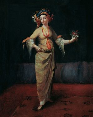 """Greek Woman from Istanbul Vanmour School Oil on canvas 35 x 27 cm, 18th century Suna ve Inan Kirac Foundation Orientalist Paintings Collection The exhibition """"Sultans, Merchants, Painters: The Early Years of Turkish-Dutch Relations"""" continues until April 1s"""