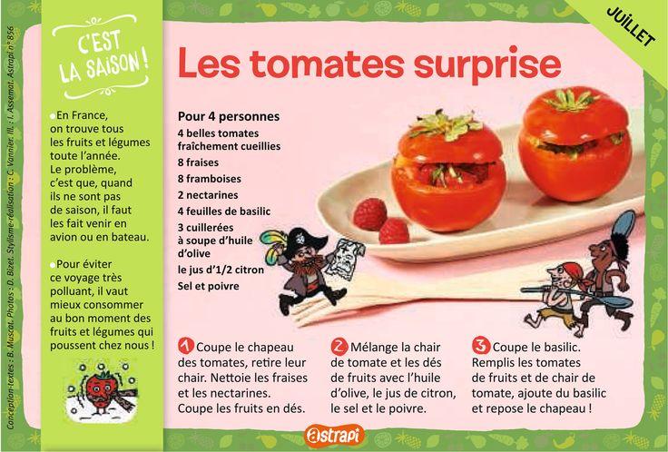 Les tomates surprises : une recette facile pour les enfants avec des tomates, des fraises, des framboises, des nectarines et du basilic (extrait du magazine Astrapi, pour les enfants de 7 à 11 ans, n°856)