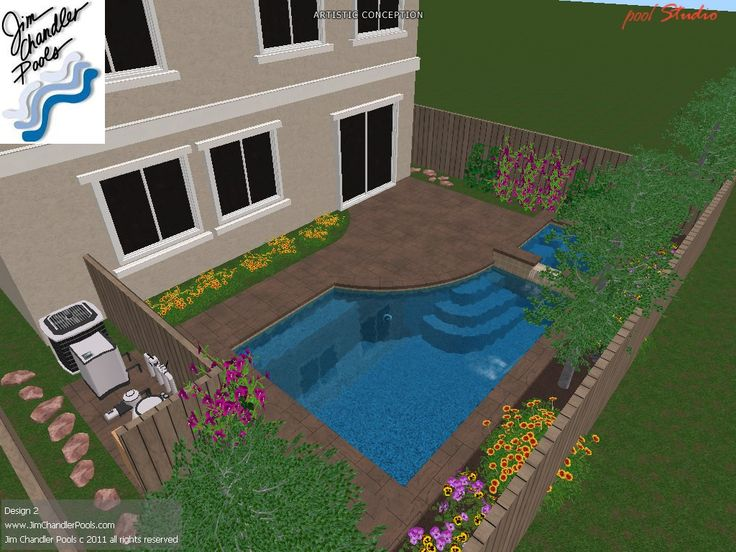 Pool, raised spa with spillway, raised wall with waterfeature www.JimChandlerPools.com