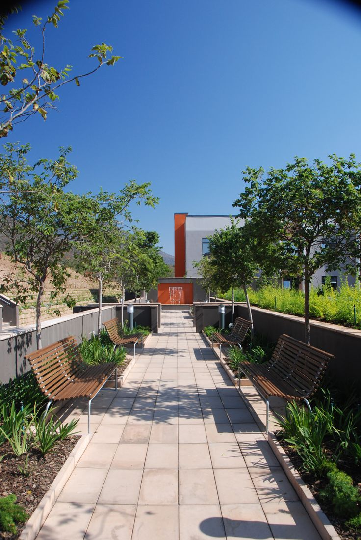 Large, rectangular concrete pavers in a contemporary setting