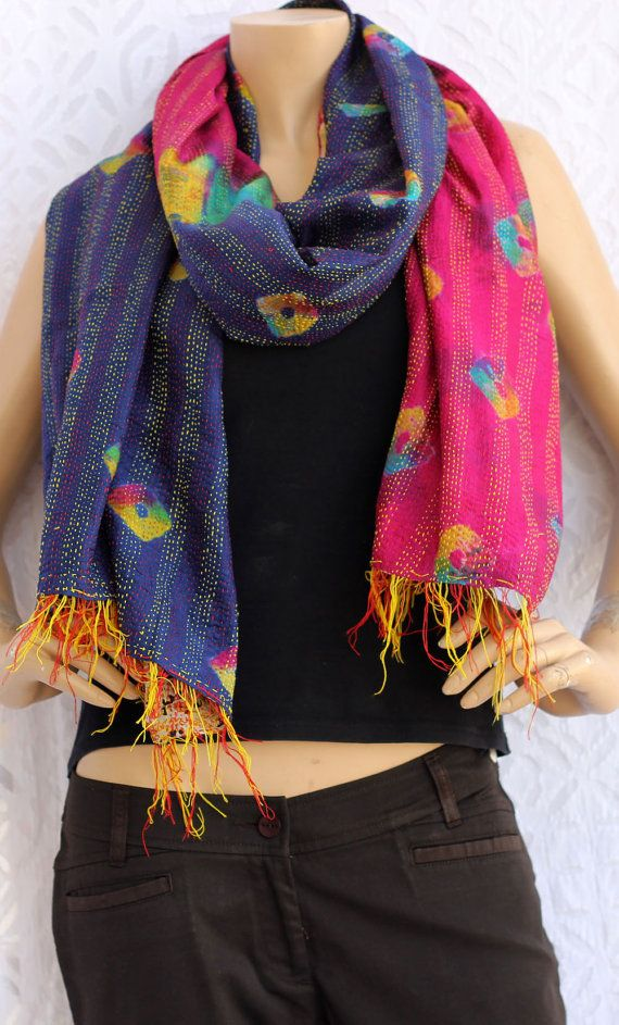 Scarves: women scarves, silk scarf, Indian scarves,Patch and kantha-quilt work , can be worn both sided