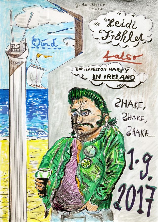 Rockabilly-Fan lauscht Sir Hamilton Harty (Rockabilly Fan is listening to Sir Hamilton Harty), 2017 by J.G Wind - Drawing/ Music on the picture: Sir Hamilton Harty - In Ireland / Pittura metafisica / Neo-metaphysical art / Rockabilly art
