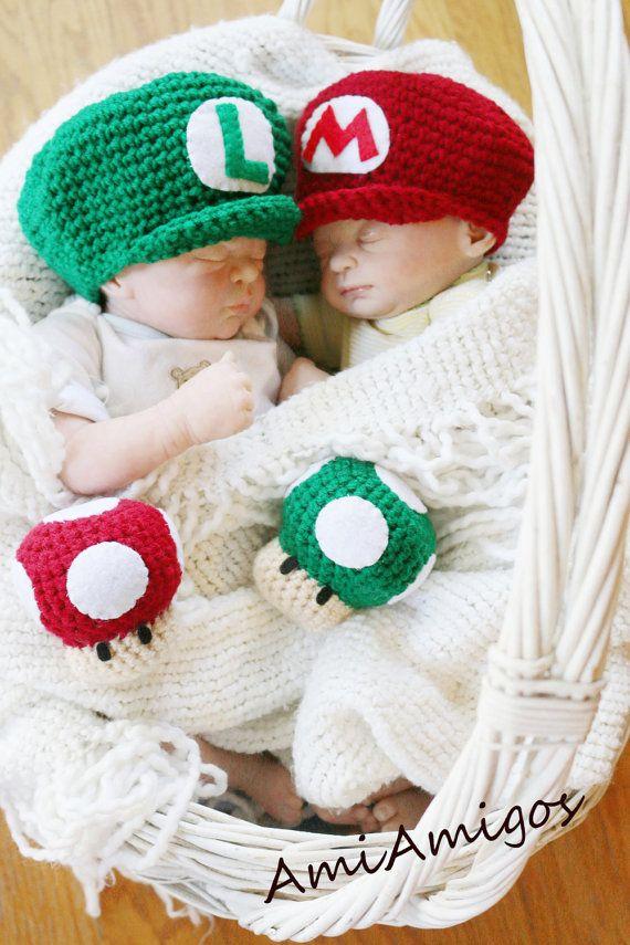 Newborn Crochet Super Mario Twin Photo Prop Set by AmiAmigos