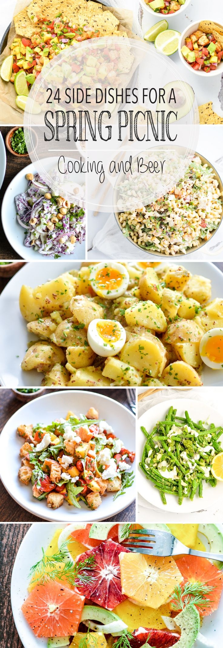 From all-veggie pasta salad to mustard potato salad and from tropical shrimp to herby chicken salad, here are 24 side dishes for a spring picnic!