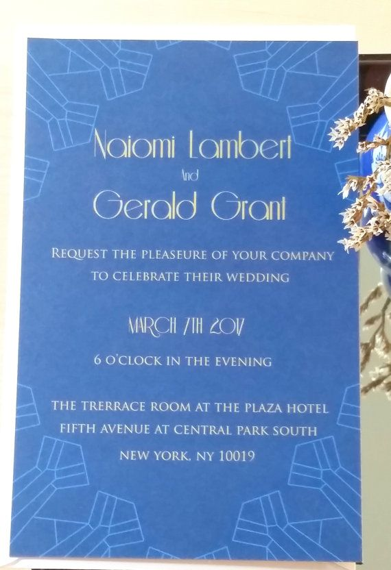 Modern Vintage Invitation suite-Blue art deco gold invitation