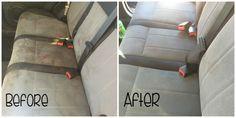 clean car seats ( mélanger à part égale eau gazeuse, vinaigre blanc et produit vaisselle dans un spray; laisser agir, brosser pulvériser de l'eau pour rincer et aspirer)