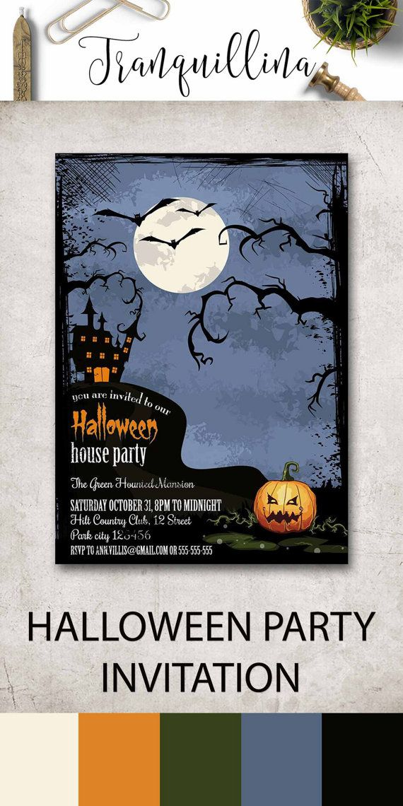 Halloween Party Invitation Printable, Halloween Invitation, Scary Halloween Invitation, Adult Halloween, Kids Halloween Invitation. More invitations at: tranquillina.etsy.com