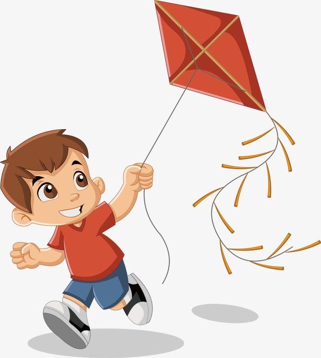kite flying vector cartoon