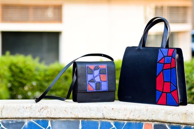 """Tote and cross body bag from """"asante"""" mosaic collection."""