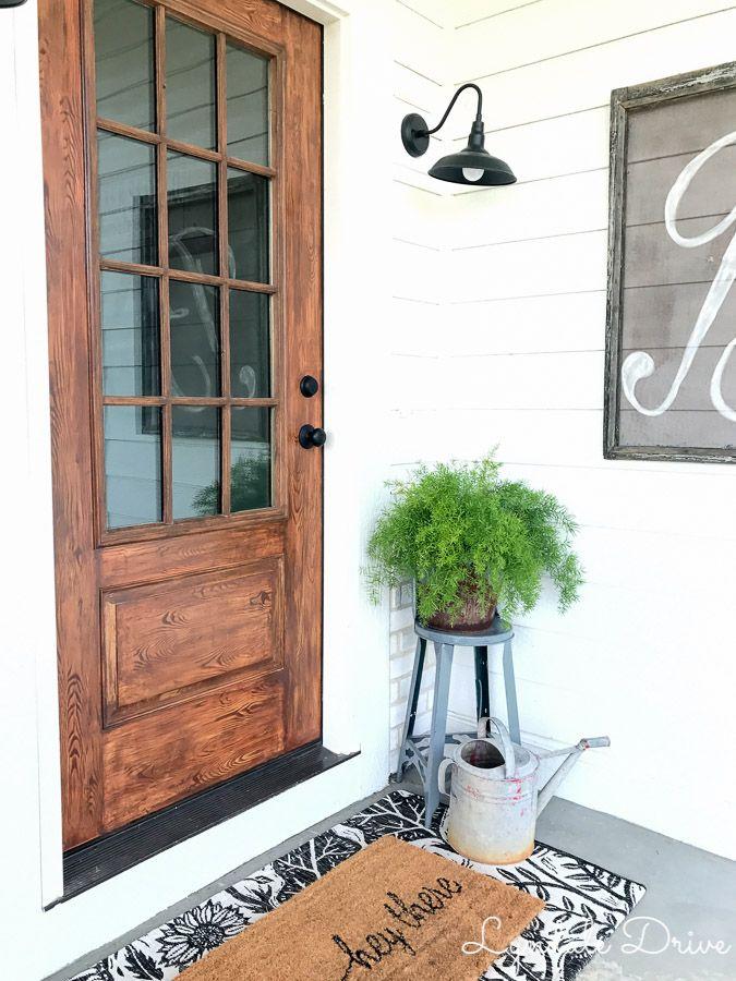 How I Made Our Metal Door Look Like Wood Lyndale Drive Metal Front Door Metal Door Painting Metal Doors
