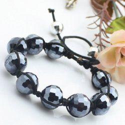 Le cristal noir perles bracelet courage