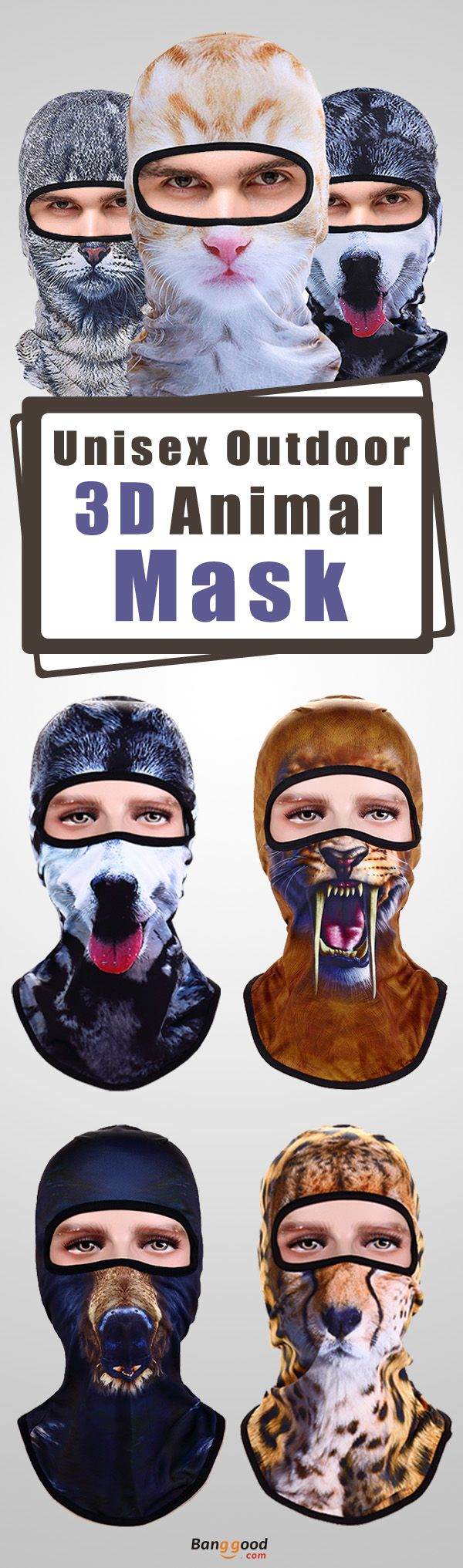 57%OFF&Free shipping. 3D Animal Mask, Unisex, Outdoors,  Bicycle, Ski, Full Face Mask Hats.    Warm,Dustproof,Sweat.  Event, holiday, party, Christmas, applicable to various occasions, shop now~