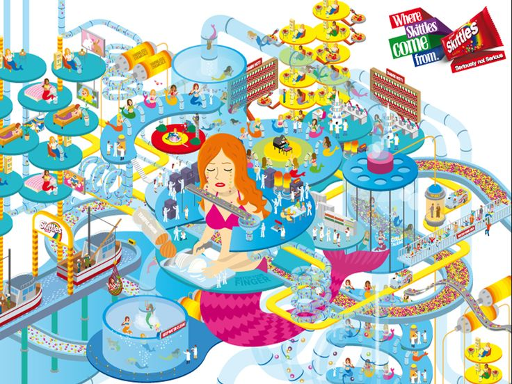 Campaign: Where Skittles Come From: Mermaid Tears Harvesting Factory / Advertiser: Wrigley / Agency: Impact BBDO Dubai / Country: UAE / Executive Creative Director: Fouad Abdel Malak / Creative Director: Sebastian Alvarado / Art Director: Mohammed Diaa / Copywritter: Darren McCall / Award: Illustration Sapphire