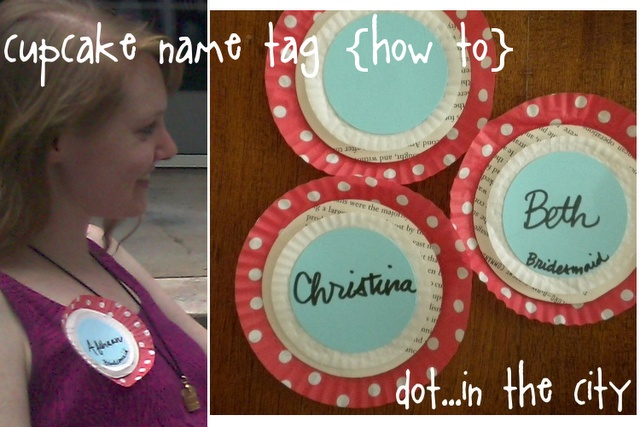 cupcake wrapper name tag #diy  Could use table color for name circle? Colorful, printed cupcake wrapper as base.