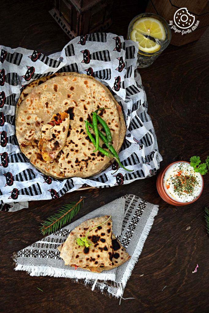 Pepper Onion Potato Paratha! #breakfast #vegan