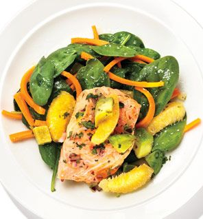 Salmon With Avocado-Orange Salsa: Recipes: Self.com. This was very tasty. I added a teaspoon of toasted sesame oil, a teaspoon of Mirin and a table spoon of low sodium soy sauce to the salsa. It upped the fat and calories a little, but for the flavor it added, I felt it was worth it.
