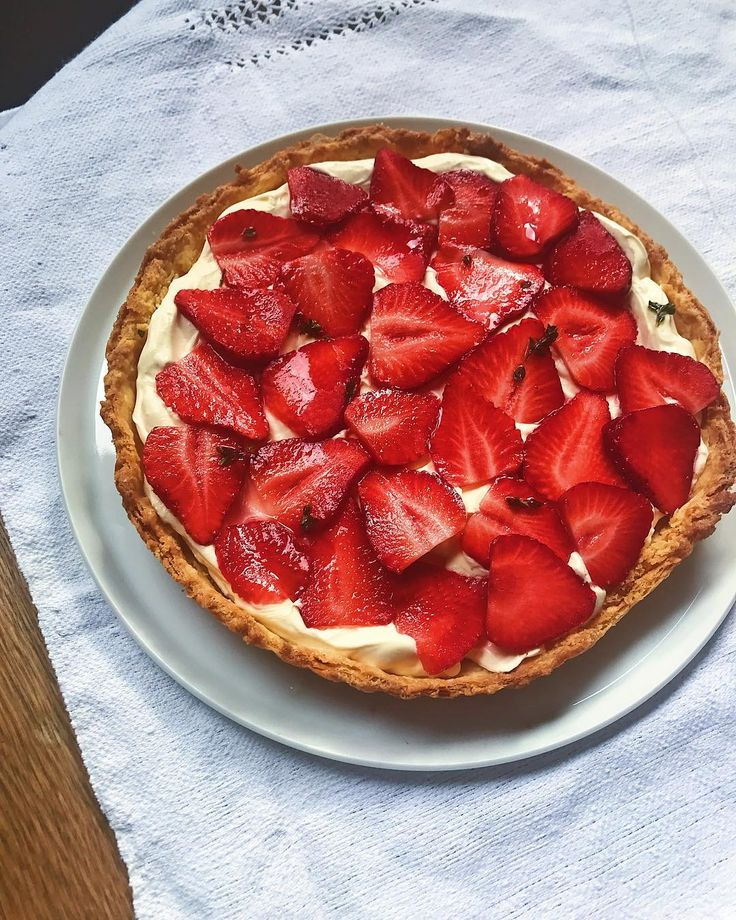 Strawberry creme fraiche and thyme tart for morning tea. Working on new recipes