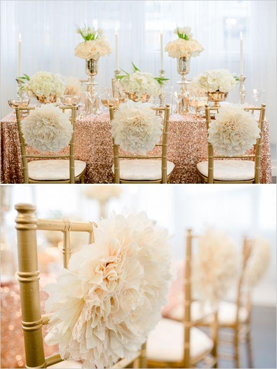 whimsical chair poof decoration #weddingdecor #weddingreception #weddingchicks http://www.weddingchicks.com/2014/02/19/glamorous-rose-gold-wedding/