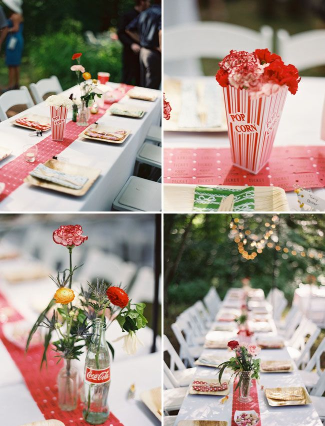 Circus table theme with popcorn floral centerpieces, ticket table runner & Coca Cola bottles as vases.