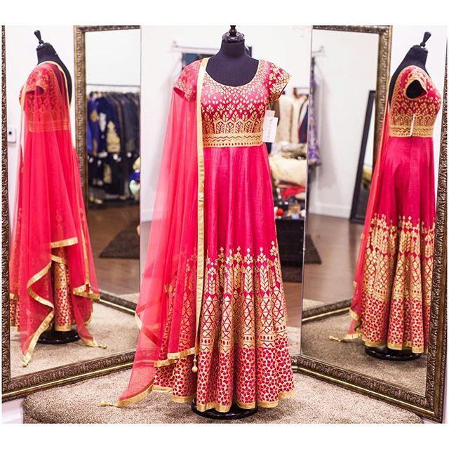 In love with this beautiful silk coral anarkali! This gorgeous piece has gotta patti applique embroidary! We love how unique this piece is and the fresh look the colour coral gives! All of our pieces are customizable to meet your requirements and personal style! Email us at sales@wellgroomed.ca Out of the country? We've got you covered! We offer phone and skype consultations as well!  Drop by one of our retail locations:  6028 Stevenson Blvd, Fremont California  Unit 321-8218 128 St…