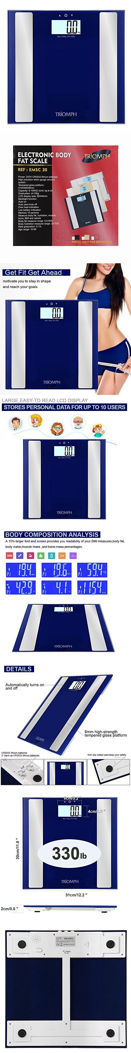 Triomph Digital Body Fat Weight Scale, Bathroom Weight Scales with Step-On Technology, 10 User Recognition, Extra Large Backlit LCD Display, 330lb Weight Capacity (Blue)