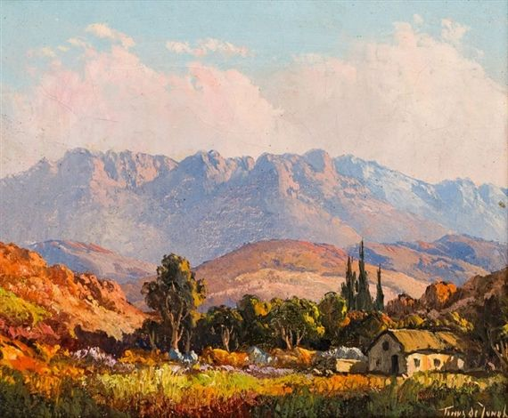 Artwork by Tinus de Jongh, Cottage in a Valley, Made of Oil on canvas