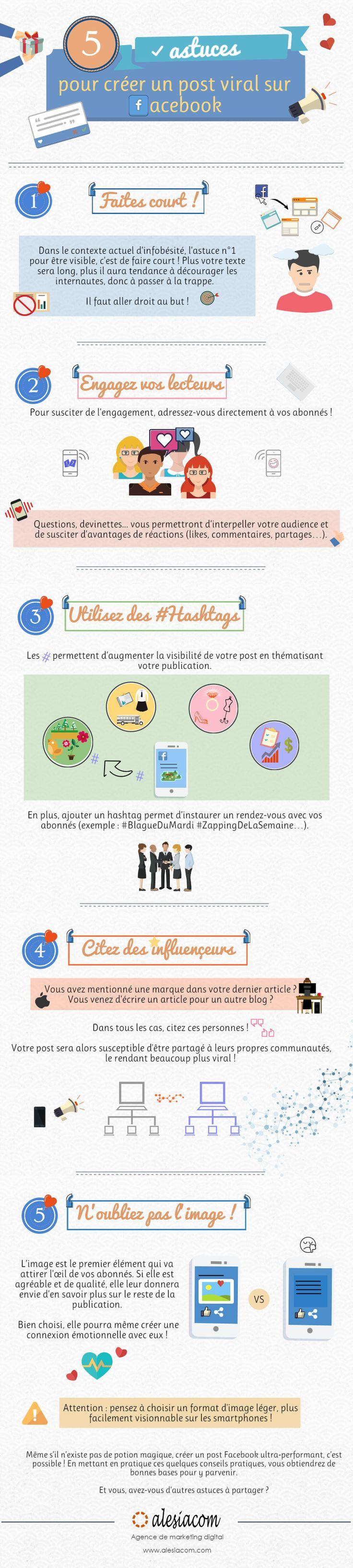 5 astuces pour créer un post viral sur Facebook | #Infographie  #SocialMedia #Facebook