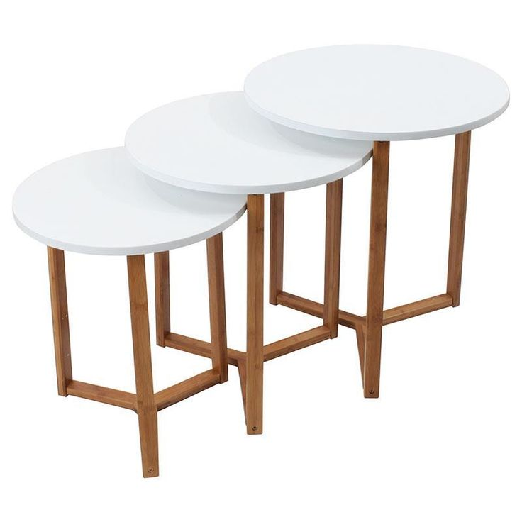 Nice wooden tables in white/natural color www.inart.com