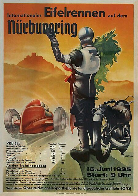 1935 International Race Meeting at the Nürburgring poster