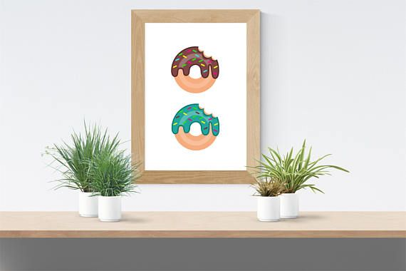 Donut kitchen printable available for instant download! Digital prints available for sale on Etsy.