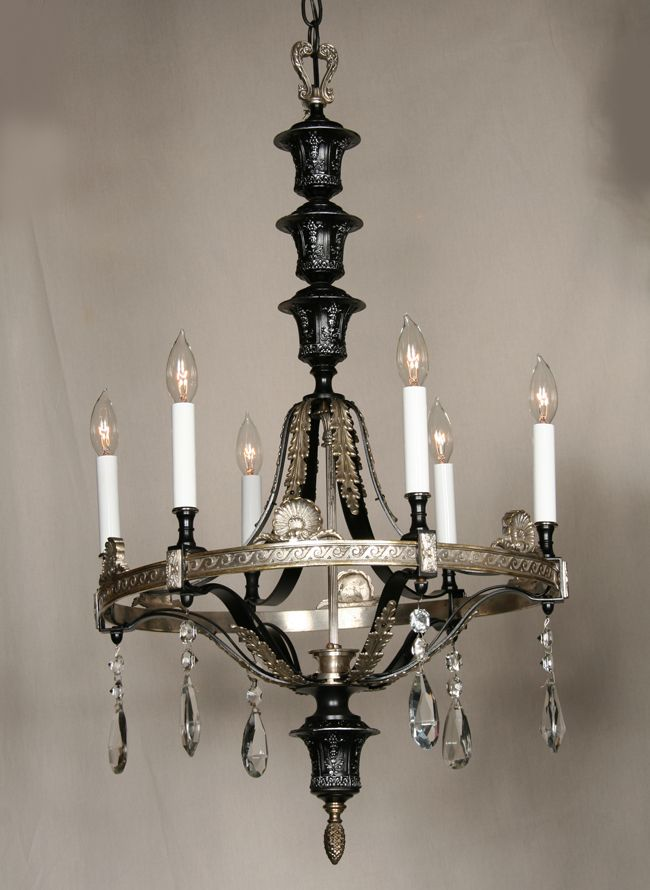 Vintage Black and Nickel Chandelier with Cast Band with Deco Accents, c. 1930 - Restoration Lighting Gallery