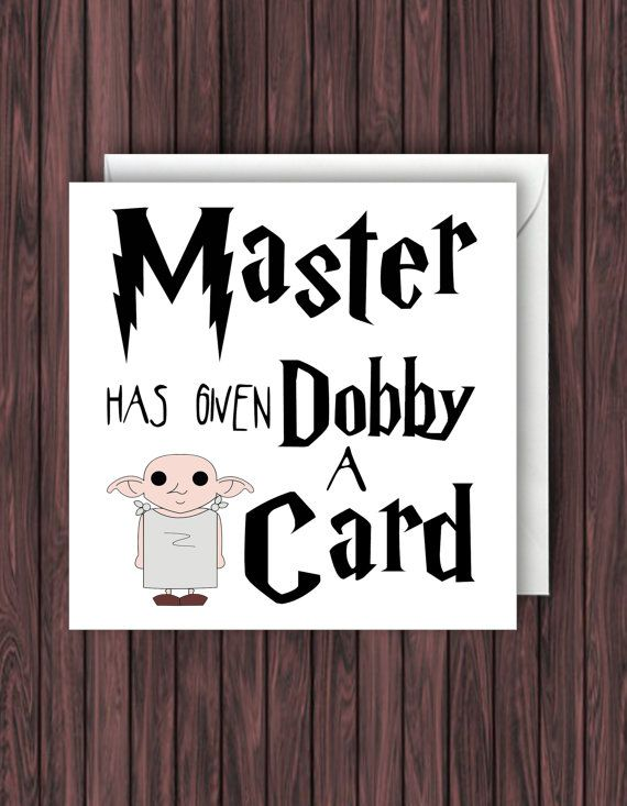 Master has given Dobby a Card. Harry Potter by TheDandyLionDesigns