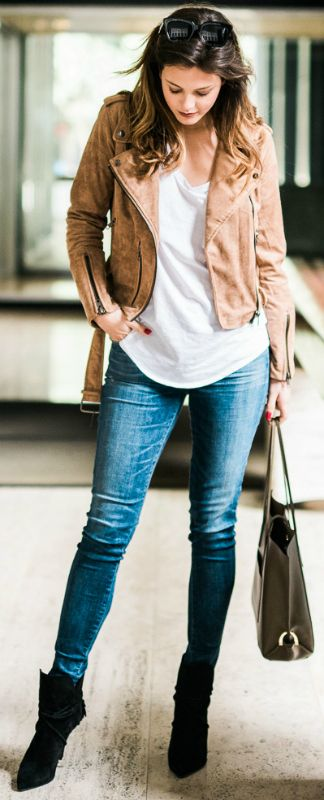 Jackie + casual spring outfit + brown suede jacket + white V neck tee + skinny denim jeans + everyday wear + warmer spring days   Jeans: Shopbop, Jacket: Urban Outfitters.