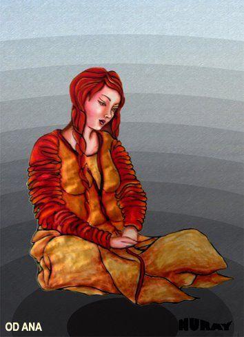 """ATEŞ TANRIÇASI ( Od Ana- Ateş Annesi)     Yakut Türkleri ateş tanrıçasını ak saçlı bir kadın olarak görürler. Buryatlar ise, kırmızılar giymiş yaşlı bir kadın olarak veya ateşin yalımıyla dalgalanan yeşil veya kırmızı ipekten kaftan giymiş bir kadın olarak da düşünmüşlerdir. Bir başka şaman duasında da şöyle tasvir edilir. """"sen karanlık gecelerde, genç kızlar gibi saçlarını dalgalandırarak oynuyorsun! Kırmızı ipekli kumaşlar sallayarak, genç al kısrak üzerinde geziniyorsun"""".  Ocak ruhu…"""