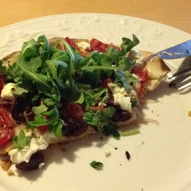 Pizza With Ricotta, Grape Tomatoes, Red Onion, And Fresh ...