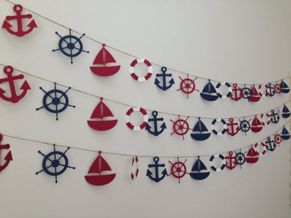 Nautical Banner - Sailboat, Anchor, Life Preserver and Ship Steering Wheel - Party or Wedding Banner