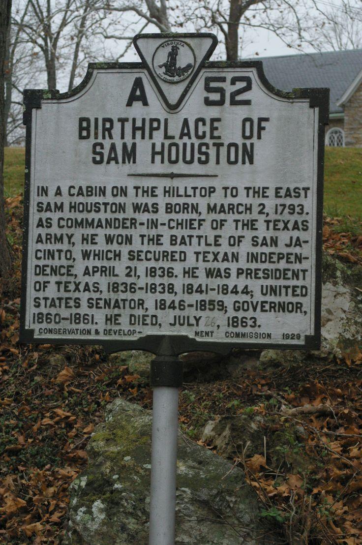 Lexington va 260 republic of texas sam houston houston