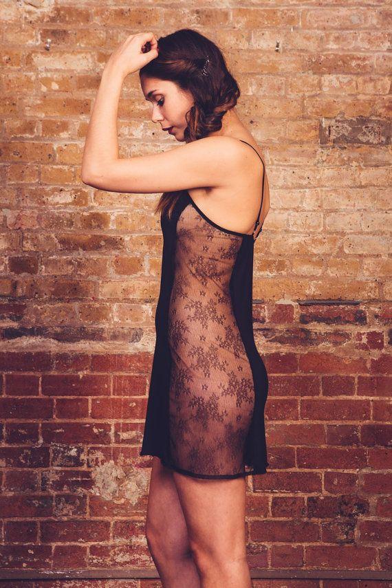Coraline black Slip Lingerie / Underwear Made to Order by luvahuva