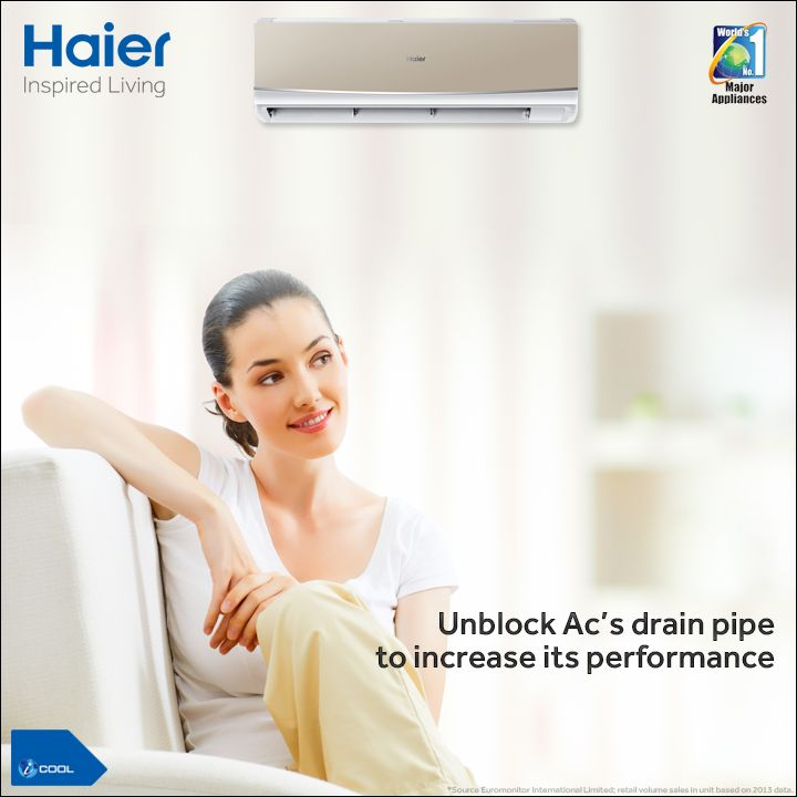 #TipOfTheDay  A regular maintenance of an #AirConditioner can improve its performance and cut down the energy consumption.  Use a stiff wire to unclog the AC's drain pipe. Blocked drain pipe causes humidity and results in discolor walls or carpet due to excess moisture.  Click to know more: http://bit.ly/HaierACs