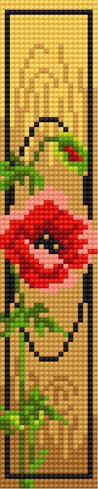 Book-mark in poppy pattern 2 (flower)