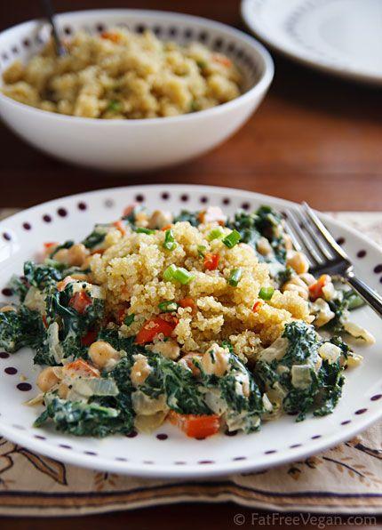 Cosmic Cashew Kale & Chickpeas w/ Confetti Quinoa #vegan #wholefood #macrobiotic #cashews #bell_pepper #basil