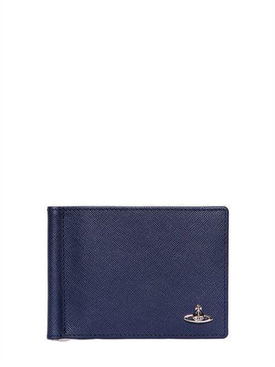 VIVIENNE WESTWOOD Orbit Application Saffiano Leather, Navy. #viviennewestwood #wallets