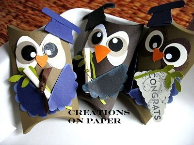 Creations on Paper: Pillow Box Graduate Owl 3-d-paper-projects