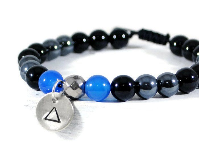 NIGHT ILLUSION Men's GemStone Adjustable Macrame Bracelet.