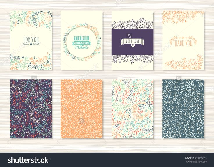 A Set Of Flyers, Brochures, Templates Design. Vintage Cards With Flower Patterns And Ornaments. Floral Decorations, Leaves, Flower Ornaments. Spring Or Summer Banners Vector. - 279729305 : Shutterstock