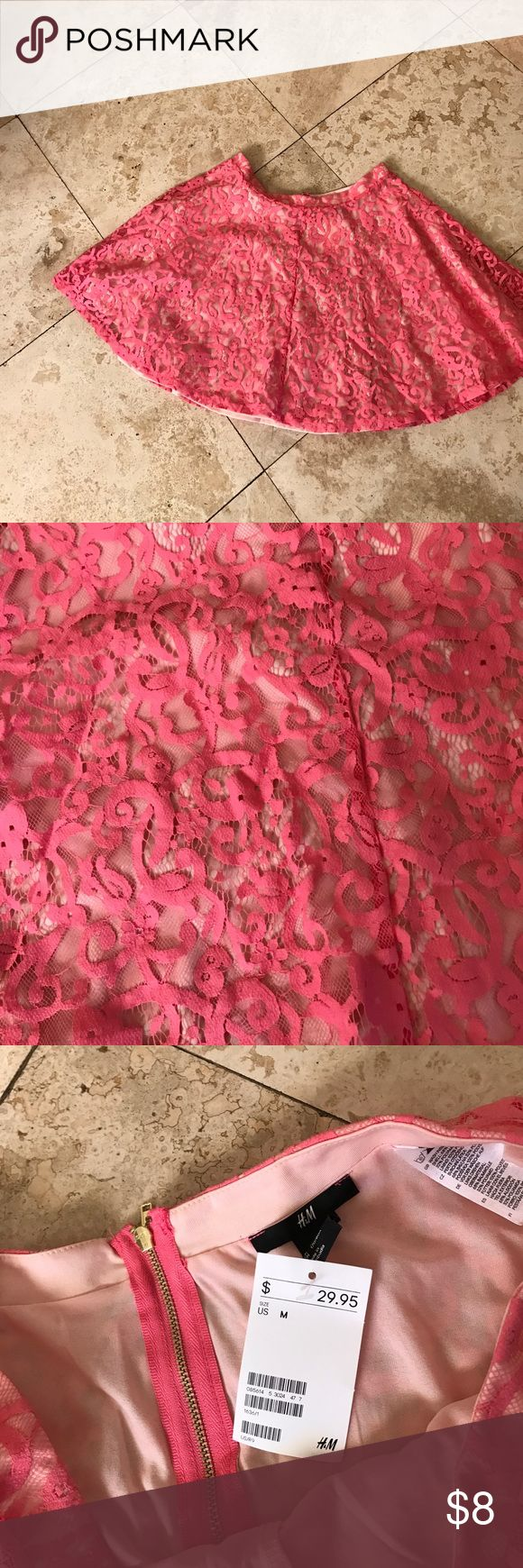 H&M lace pink skater skirt. Size M H&M lace pink skater skirt. Size M. Bright pink lace over lighter linning. Gorgeous  new with tags H&M Skirts Mini