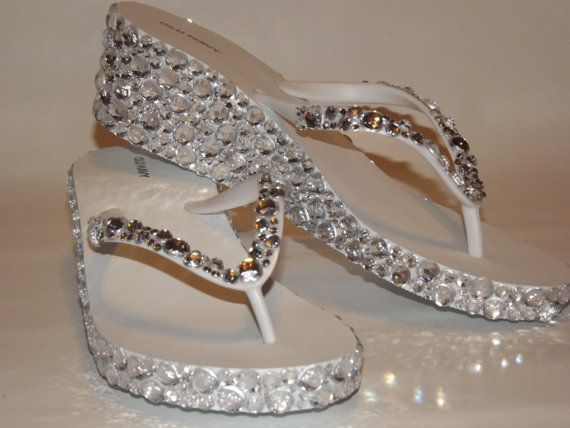 Rhinestone Bling Flip Flop Wedge Sandals Bridal by EVRhinestones, $55.00
